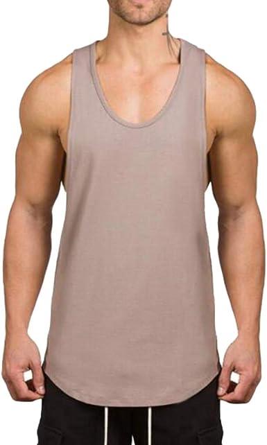 WEIMEITE Ropa de Gimnasia Culturismo Camiseta sin Mangas Hombres Gimnasio Camiseta sin Mangas Camisa de Algodón Chicos musculosos Camiseta para niño Chaleco de Color Caqui M: Amazon.es: Ropa y accesorios