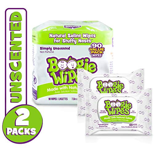 (Boogie Wipes Soft Natural Saline Wet Tissues for Baby and Kids Sensitive Nose, Hand, and Face with Moisturizing Aloe, Chamomile, and Vitamin E, Unscented, 45 Count (Pack of 2))