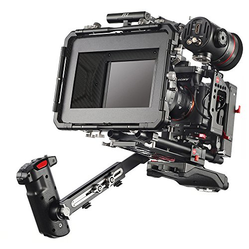 JTZ DP30 Camera Cage with 15mm Rail Rod Baseplate Rig&Top Handle+Shouder Pad&Electric Handle Grip+Carbon Fiber Matte Box+Follow Focus+Power Supply(LE Version) for SONY A7III A7RIII ARSIII A9 Camera