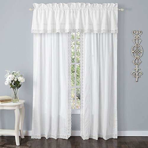 Laura Ashley Annabella Pole Top Drapes, Curtain, White