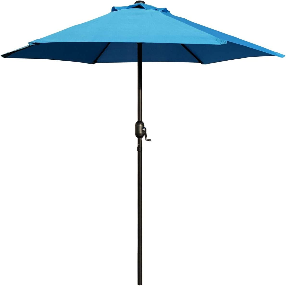 ABBLE Outdoor Patio Umbrella 7.5 Ft with Crank, Weather Resistant, UV Protective Umbrella, Durable, 6 Sturdy Steel Ribs, Market Outdoor Table Umbrella, Aqua