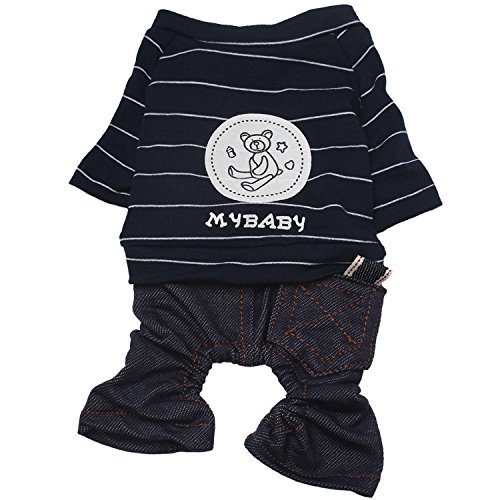 as Dog Jeans Jumpsuits With Cute Bear Pattern for Small Medium Large Dogs (Bear Dog Pajamas)