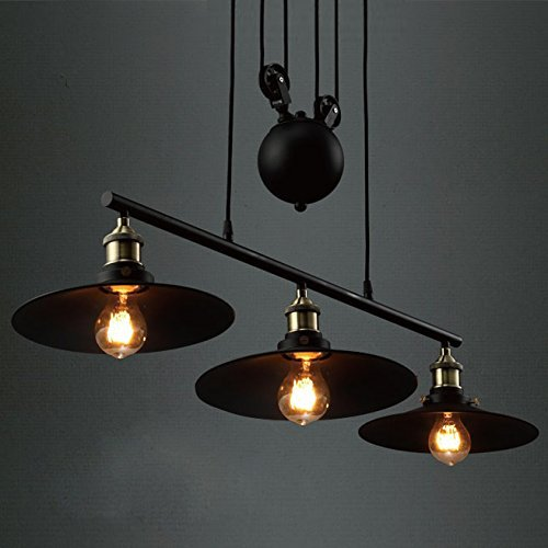 Industrial Vintage Retro Linear Chandelier - LITFAD 35'' Wide Edison Metal Hanging Ceiling Light Gorgeous Pendant Light Island Light Fixture Black Finish with 3 Lights