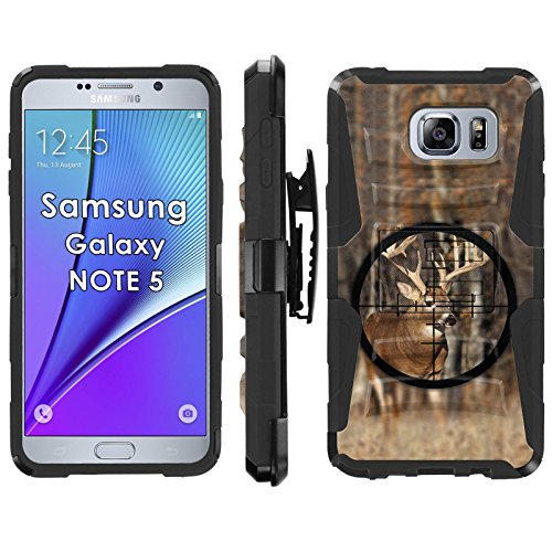 Samsung Galaxy Note 5 Phone Cover, Buck Hunter- Blitz Hybrid Armor Phone Case for [Samsung Galaxy Note 5] with [Kickstand and Holster] by Mobiflare (Arts Models Buck Artist)