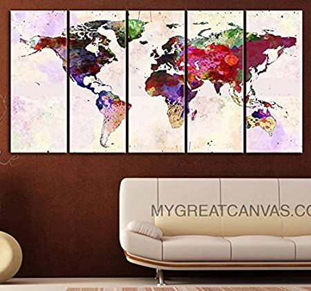 Watercolor ink splash world map canvas print large wall art canvas watercolor ink splash world map canvas print large wall art canvas world map gumiabroncs Gallery
