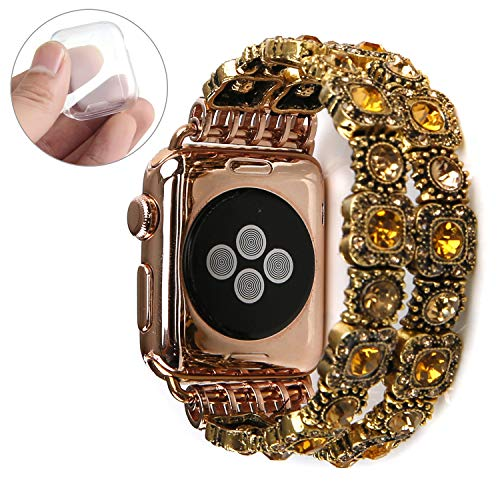 GEMEK Retro Bracelet Compatible with Apple Watch Band Gold 38mm 40mm, Elastic Stretch Faux Crystal Agate Straps Replacement Compatible with iWatch Women Wristbands Series 4/3/2/1 Cuff (Yellow)