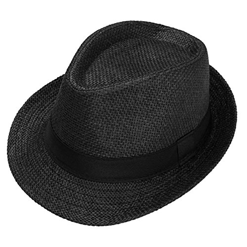 FALETO Unisex Summer Panama Straw Fedora Hat Short Brim Beach Sun Cap Classic (#01 Black)
