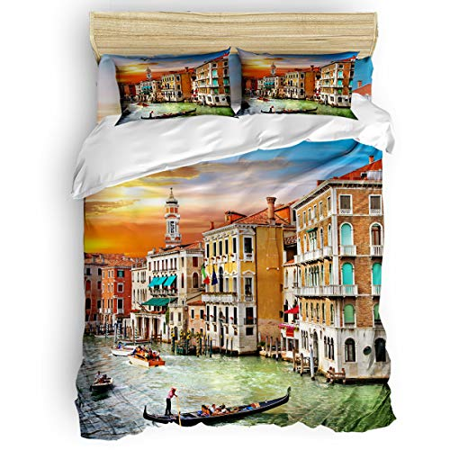 (Royalreal Queen Size 4 Piece Duvet Cover Set Landscape of Venice's Water City Fade Stain Shrink and Wrinkle Resistant Bedding Sets No Comforter )