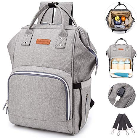 Diaper Bag Backpack, hopopower Diaper Bag with USB Charging Port for Mom & Dad, Large Multifunction Baby Nappy Changing Bags,Waterproof & Stylish, Gray