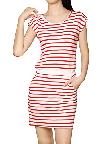 Allegra K Women Round Neck Sleeveless Stripes Unlined Casual Dresses Red White M