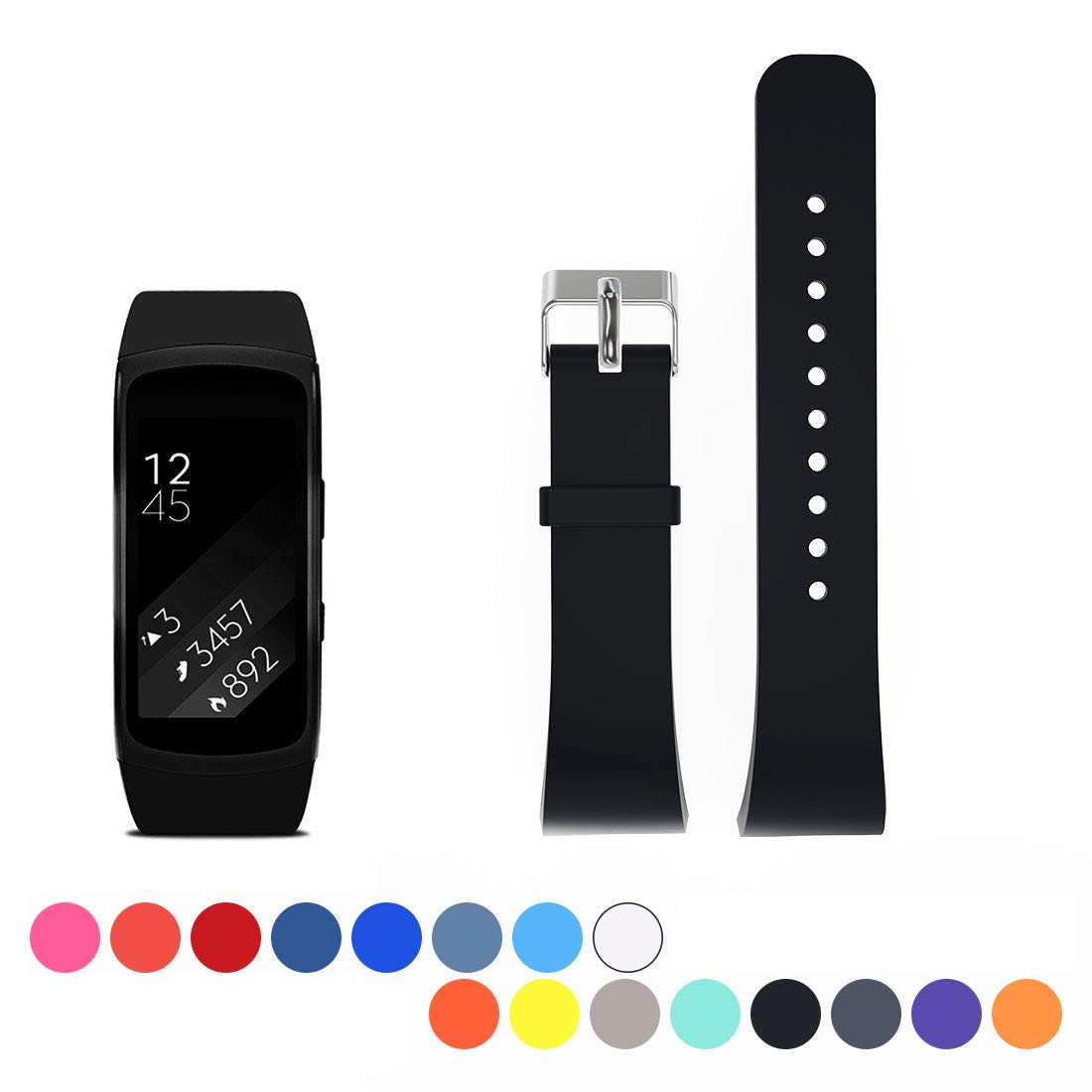 Cyeeson For Samsung Gear Fit 2 SM-R360 Replacement Watch Band, Soft  Silicone Wristband Strap Smartwatch Bracelet Band for Samsung Gear Fit 2  SM-R360