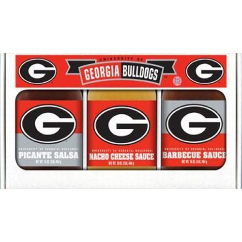 Georgia Bulldogs NCAA Triple Play Gift Set (16oz BBQ Sauce, 16oz Picante Salsa, 16oz Cheeze Dip) by Hot Sauce Harry's