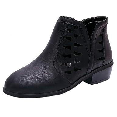50009dd2347a OYSOHE Damen Vintage Hohl Stiefel Reißverschluss Starke Ferse Kurze  Booties  Amazon.de  Bekleidung
