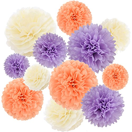 Winrase 12Pcs Different Size Multiple Colors of Tissue Paper Pom Poms Flowers Party Decoration for Wedding/ Birthday/Baby Showers/Festivals (Purple,Peach,Ivory)