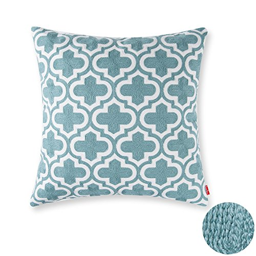 baibu 100% Cotton Decor Throw Pillow Case Embroidery Turquoise Teal Accent Pattern Cushion Cover Geometric - Pattern Cushion
