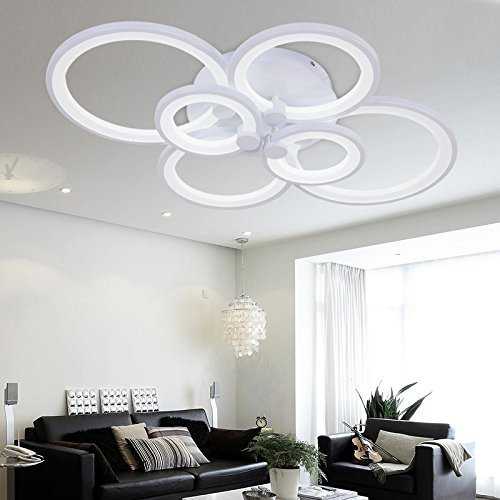 Chandelier Modern Acrylic Lighting Flush Mount LED Ceiling Light Fixture Lamp 6 Heads for Dining Room Bathroom Bedroom Livingroom by LightInTheBox (White)