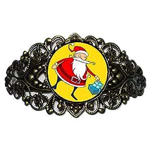 Chicforest Bronze Retro Style Santa Claus Flower Cuff Bracelet