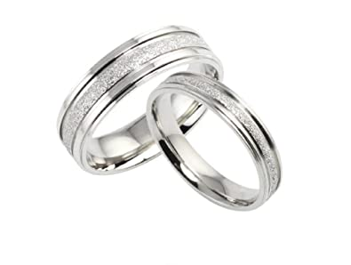Starryjewelry His Hers Matching Set Titanium Steel Wedding Bands