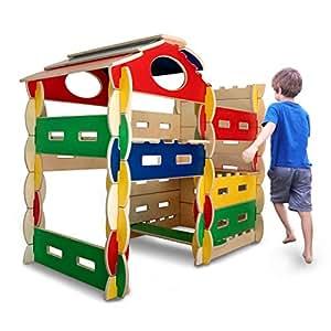 Bilderhoos 58-Pc Wooden Architectural Playhouse & Fort Building Kit (COLOR)
