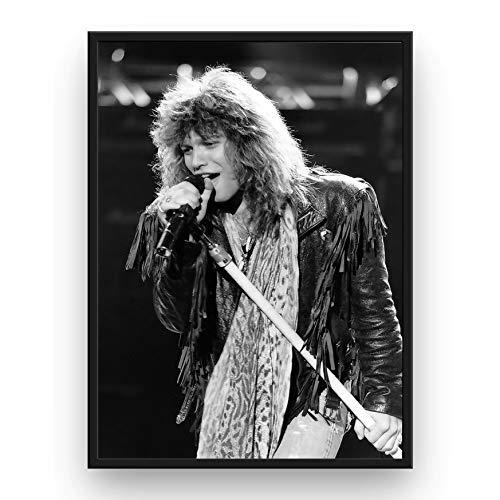 (Mile High Media Jon Bon Jovi Poster Quality Black and White Portrait Print)