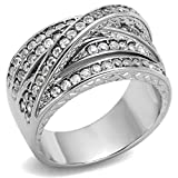 Women's Round Cut Cubic Zirconia Stainless Steel Anniversary Ring Size 5