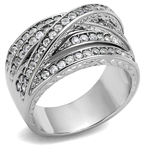 Women's Round Cut Cubic Zirconia Stainless Steel Anniversary Ring Size
