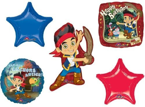 (JAKE & the NEVERLAND PIRATES STARS (5) Birthday PARTY Supplies Mylar BALLOONS B)