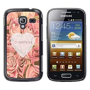 TopCaseStore / la caja del caucho duro de la cubierta de protección de la piel - Heart Roses Pink Spring - Samsung Galaxy Ace 2 I8160 Ace II X S7560M