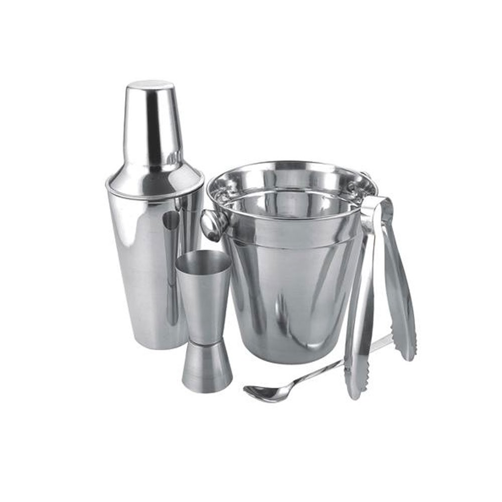 Apollo Stainless Steel Cocktail Gift Set with Shaker, Jigger, Spoon, Ice Bucket & Tongs | Cocktail Making Set, Cocktail Mixing Set