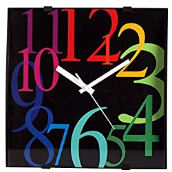 ISHIWA 12-inch Modern Contemporary Square Non-ticking Wall Clock Convex Glass Lens Home Decor (W40450 Rainbow)