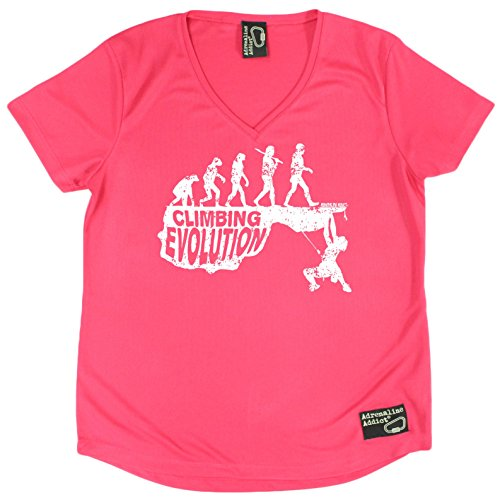Women's Adrenaline Addict - Climbing Evolution - Premium Dry Fit Breathable Sports V-Neck T-SHIRT - tee top Rock Climbing Bouldering t shirt (Evolution Womens Pink T-shirt)