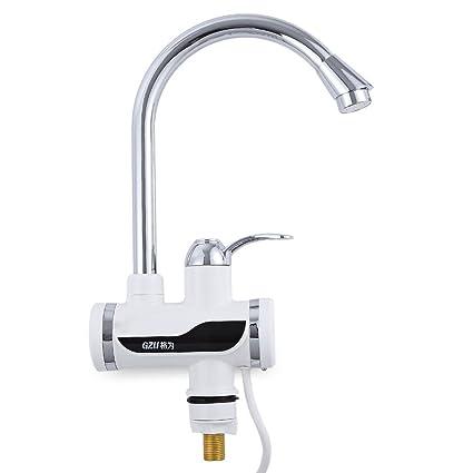 Damaifeng Calentador de agua eléctrico rápido Pantalla LCD de temperatura Grifo de calefacción con traje de