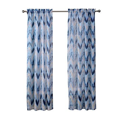 Ivory Yellow Beige Lynna Striped Faux Linen 3 Piece: Amazon.com: Linen Voile Curtain 2 Pannel Set Rod Pocket