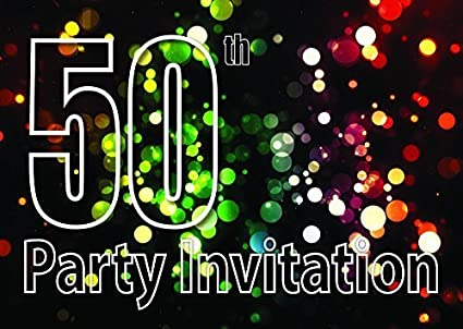 amazon com 10x 50th theme birthday party invitations invites kids