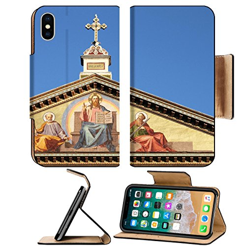Liili Premium Apple iPhone X Flip Pu Leather Wallet Case Basilica of Saint Paul outside the walls in Rome Italy Photo 12816641 Simple Snap Carrying - Basilica Outdoor Wall