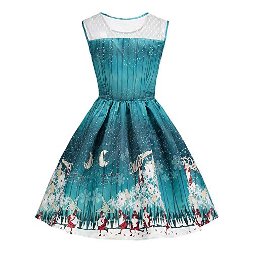 Christmas Women Sleeveless Printed Vintage Xmas Tree Santa Casual Party Prom Swing Dress ODGear Clearance -
