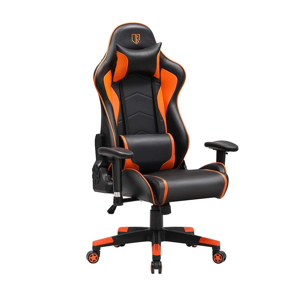 Big Tall Gaming Chairs with Bucket Seat, PC Video Game Computer Chairs with Premium PU Leather Adjustable Armrests for Home Office Orange