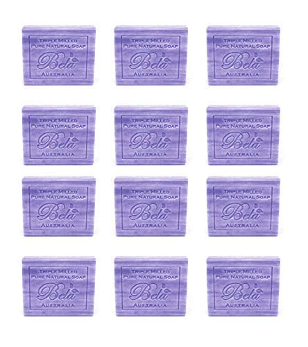 (Bela Pure Natural Soaps Triple French Milled Moisturizing Natural Soap Bars - Freesia Lilac - Made in Australia - Holiday Gifts for Him/Her- 12 pack (3.5 oz each))