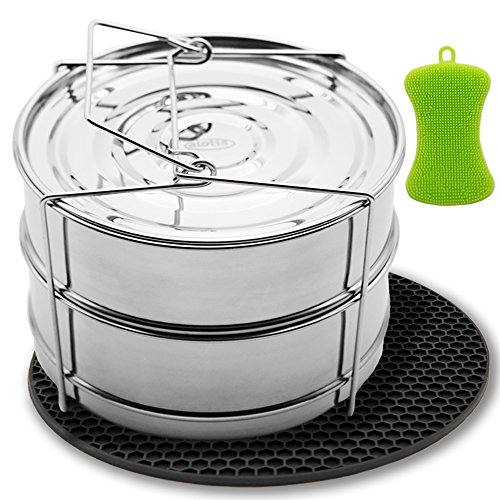 Alotia Stackable Insert Pans for Pressure Cooker or Instant Pot Accessories Food Grade Stainless Steel by Alotia