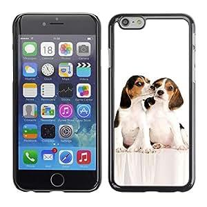 All Phone Most Case / Hard PC Metal piece Shell Slim Cover Protective Case Carcasa Funda Caso de protección para Apple Iphone 6 Beagle Puppes Kiss Friends White Dog