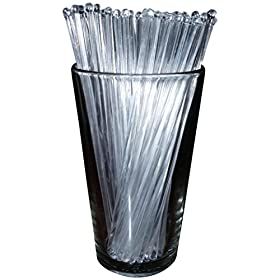 Royer 7 Inch Plastic Round Top Swizzle Sticks, Set of 48, Crystal – Made In USA
