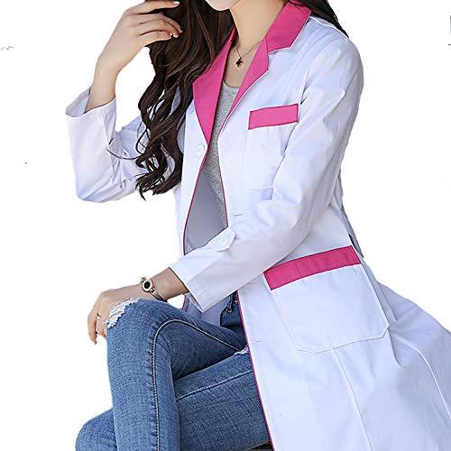 ESENHUANG Traje De Mujer De Manga Larga Bata De Laboratorio Farmacia Trajes De Médico Uniforme Enfermera Salud: Amazon.es: Ropa y accesorios