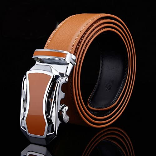D/&L Orange Mens Genuine Leather Automatic Buckle Belt 2