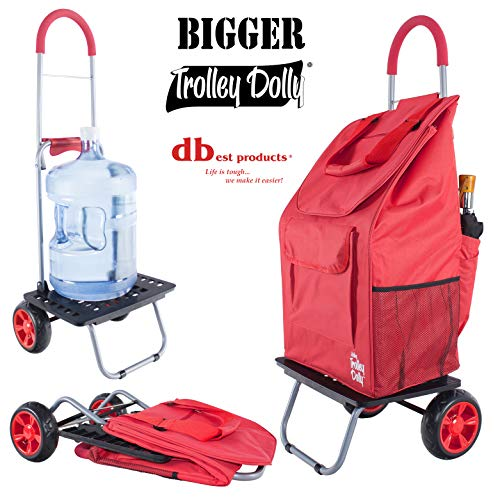 dbest products Bigger Trolley Dolly Cart, Red Shopping Grocery Foldable - Collapsible Rolling Tote Shopping