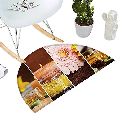 (Exotic Semicircular Cushion Aromatic Collage with Gerbera and Candles Exotic Asian Body Therapy and Treatment Entry Door Mat H 51.1