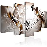 Konda Art - Modern Floral Canvas Wall Art Large Artwork Black and White 5 pcs Abstract Paintings HD Flower Print Picture for Living Room (40'x20')