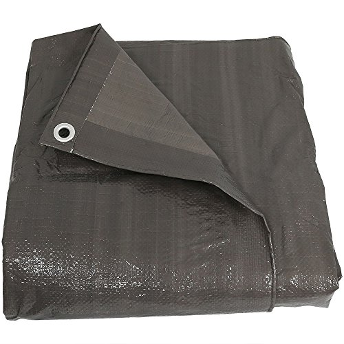 Sunnydaze 8x10 Waterproof Tarp, Heavy Duty Multi-Purpose, Outdoor Reversible, Dark - Heavy Gray Tarp Duty