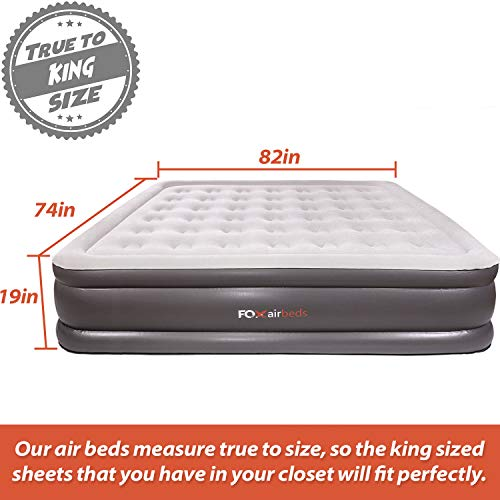 Best Inflatable Bed by Fox Airbeds - Plush High Rise Air Mattress in King, Queen, Full and Twin (King)