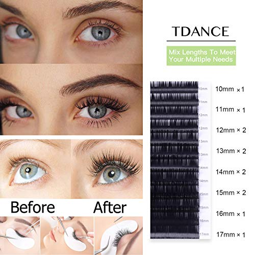 53aa45ddcf7 Amazon.com : TDANCE Eyelash Extension DD Curl 0.15mm Thickness Semi  Permanent Individual Eyelash Extensions Silk Volume Lashes Professional  Salon Use Mixed ...