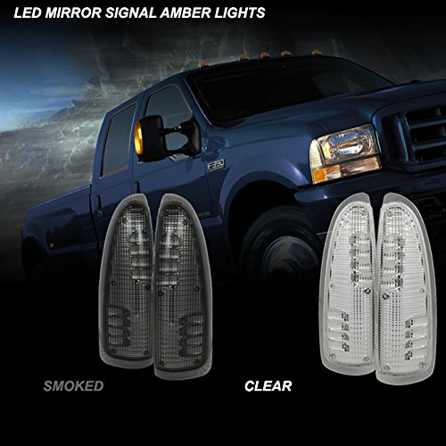 00-05 Excurison 2Pcs LED Smoked Lens Amber Side Mirror Lights For 2003-2007 F250 F350 F450 F550 Superduty